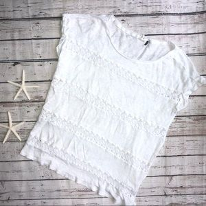 Anthropologie Akemi + Kin White Short Sleeve Top